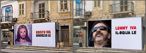 Billboard and parody. Malta's divorce referendum