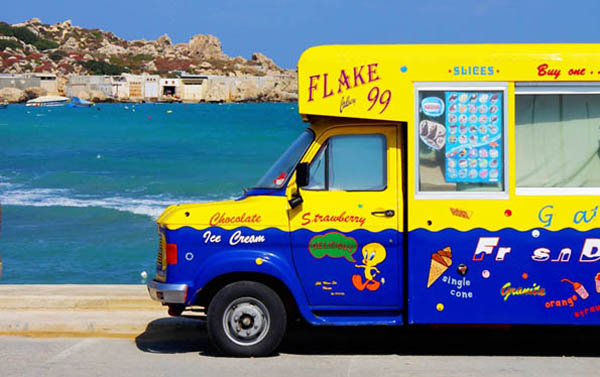 Even the ice cream van man is having siesta it's so hot!
