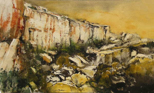 Entitled simply 'Rdum', ithis is a scene of Dingli Cliffs by Tonio Mallia