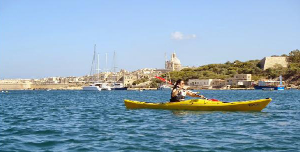 kayaking in Grand Harbour, Malta