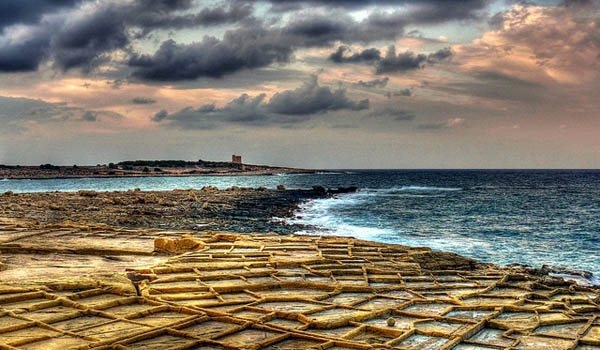 Storm clouds over salt pans, Bahar ic-Caghaq. Photo Leslie Vella