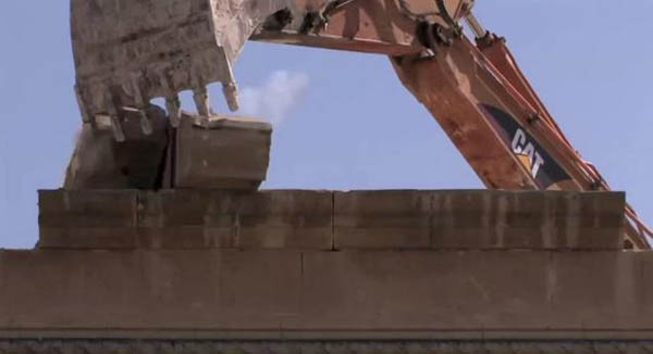 Valletta City Gate demolition. Still from film by Bettina Hutschek