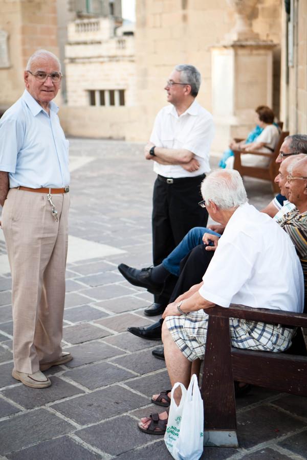 Seniors in a Maltese pjazza - Malta InsideOut